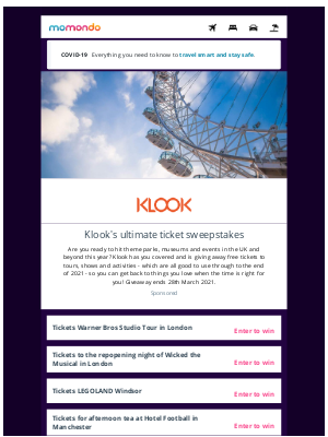 momondo (UK) - Win free tickets in the ultimate giveaway from Klook