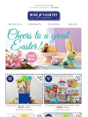 WineCountryGiftBaskets - Easter is this Sunday! 🐰