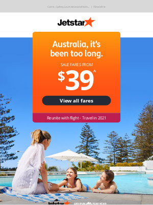Jetstar Airways - Reunite with flight - Sale fares from $39^ | Travel in 2021