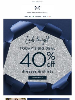 Crew Clothing (UK) - LAST CHANCE   40% off shirts & dresses