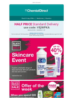 Chemist Direct (UK) - Half price standard delivery on EVERYTHING today!