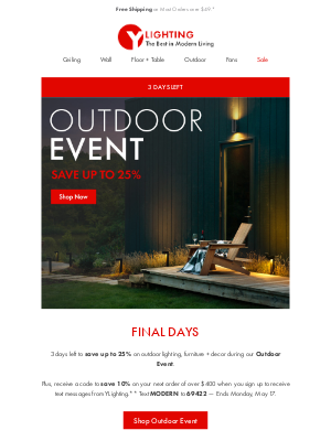 3 Days Left: Save up to 25% - Outdoor Designs.