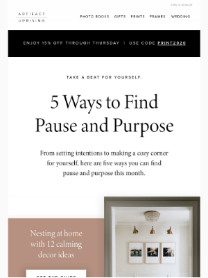 Artifact Uprising - 5 ways to find pause and purpose