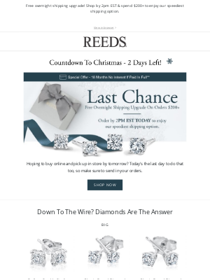 REEDS Jewelers - Final hours for free overnight shipping!