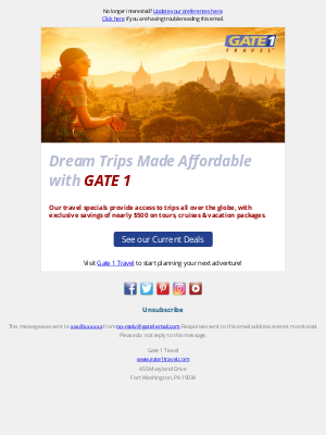Gate 1 Travel - Travel Enthusiast, we haven't heard from you in a while