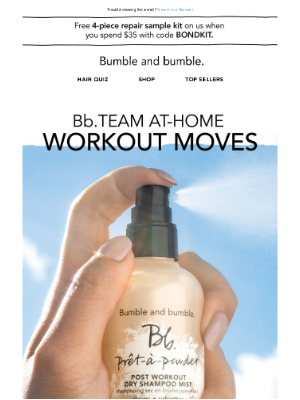 Bumble & Bumble - Quick fixes for post-workout hair
