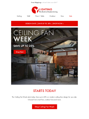 YLighting - Cool + On Sale: The Ceiling Fan Sale starts today.
