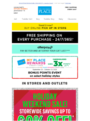 Gymboree - 😃 YES! Up to 60% off STOREWIDE savings + buy now, pay later with Afterpay!