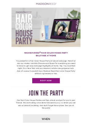 Madison Reed - Join us today for a balayage party 💜