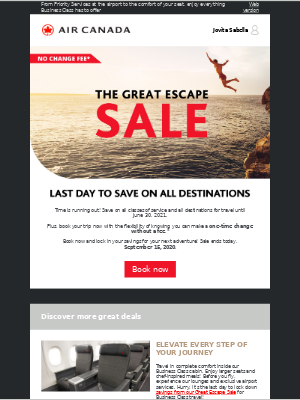 Air Canada - Don't miss out! Last day to SAVE with our Great Escape Sale!