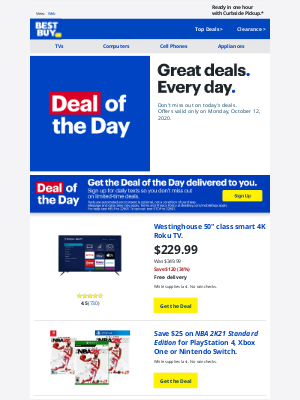 Best Buy - Today only: Save $120 on Westinghouse 50-inch class smart 4K Roku TV with free shipping, plus more.