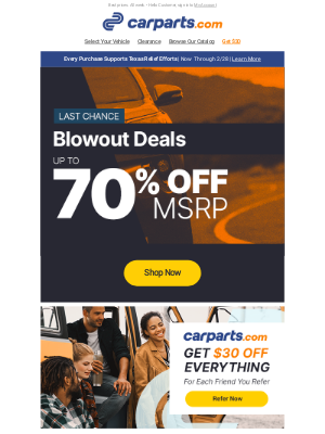 CarParts - LAST CALL: Blowout Deals Up to 70% Off MSRP