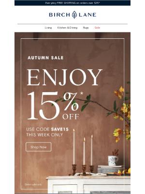 Birch Lane - Autumn Sale > Enjoy 15% off!