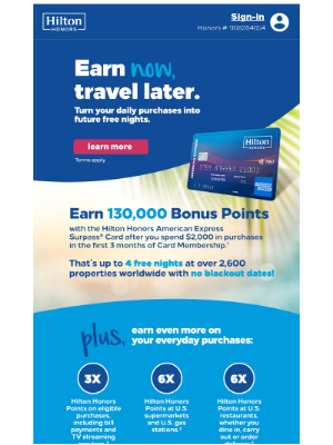 Hilton Hotels & Resorts - Tracy, earn 130K Points for future travel.