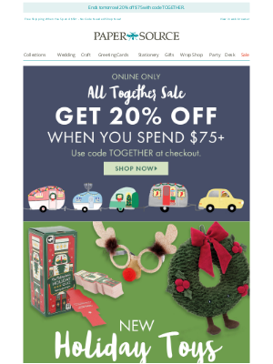 Paper Source - Stock Up on Toys, Stocking Stuffers & More! (Plus, 20% off $75+!)