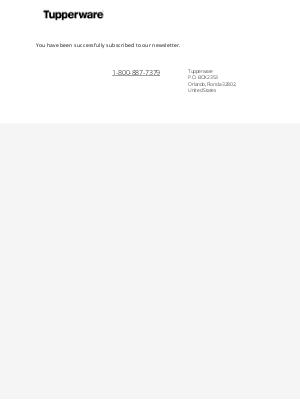 Tupperware - Newsletter subscription success
