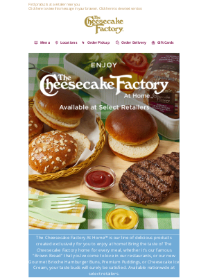 The Cheesecake Factory - Introducing The Cheesecake Factory At Home™!