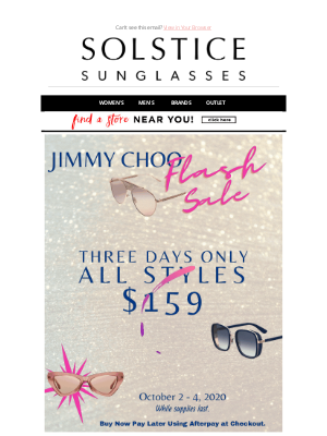 Solstice Sunglasses - 3 days only! Jimmy Choo $159 - Entire Collection!