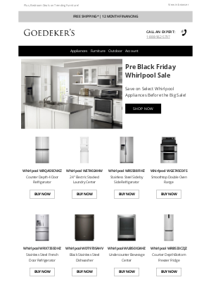 Goedeker's - Pre Black Friday Whirlpool Deals Before the Big Sale!