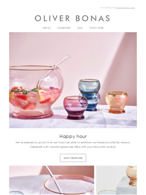 Oliver Bonas - Coloured glassware | New punch bowl and tumblers 🍹