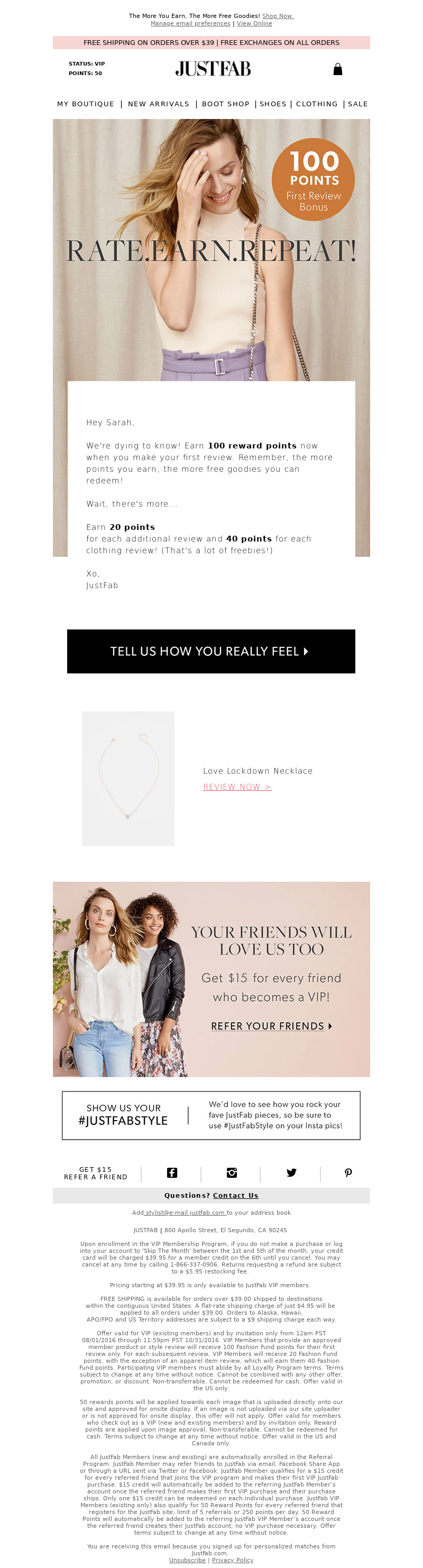 The More You Earn, The More Free Goodies! Shop Now Manage email preferences