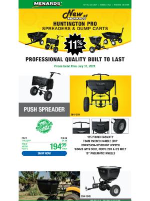 Menards - New Huntington Pro Spreaders & Dump Carts!