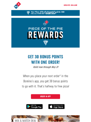 30 bonus points for a single 🍕 order? Just make your order in the app