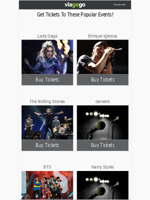 viagogo - Lady Gaga, Enrique Iglesias, The Rolling Stones...