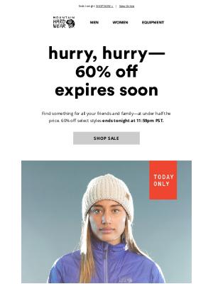 Mountain Hardwear - 🚨 Last call on 60% off select styles...
