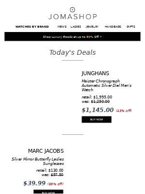 🍳 DAILY DEAL: Girard Perregaux Watch 54% off   Junghans Men's Chrono $1145   Marc Jacobs Sunglasses $40