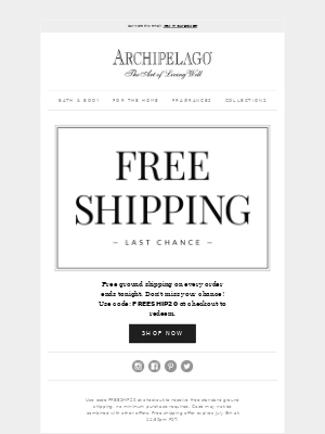 Don't Miss Out: Free Shipping Ends Tonight!