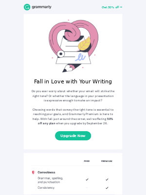 Fall in love with your writing 🧡 50% OFF all plans