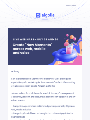 [Webinar Algolia Summer '19 ] Last chance to register for Tuesday, July 30th