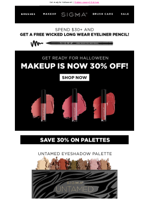 Sigma Beauty - Makeup is ALL 30% OFF!