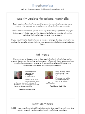 Fine Art America - Fine Art America - Weekly Update for Briana Marchelle