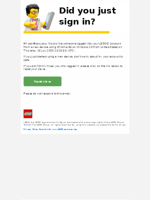 Your LEGO® Account was logged into from somewhere new