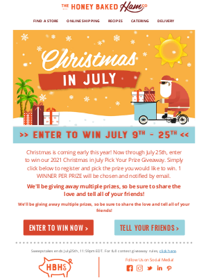 HoneyBaked Ham Online - 🎅Enter to Win our Christmas in July Contest!