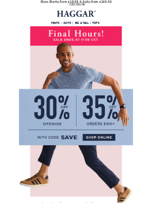 Haggar Clothing Co. - Ends Today! Extra 30% Off or 35% Off $100+