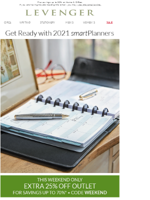 Take 25% off Outlet + Replace your 2020 Planner.