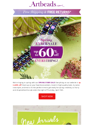 Artbeads - Spring Cyber Sale Starts Now! Save up to 60% Storewide