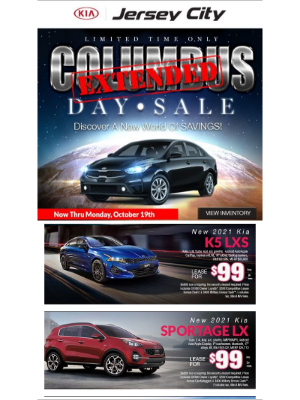 Kia Motors America - Best Prices Of The Year Tomorrow For Our Extended Columbus Day Sale Tomorrow!