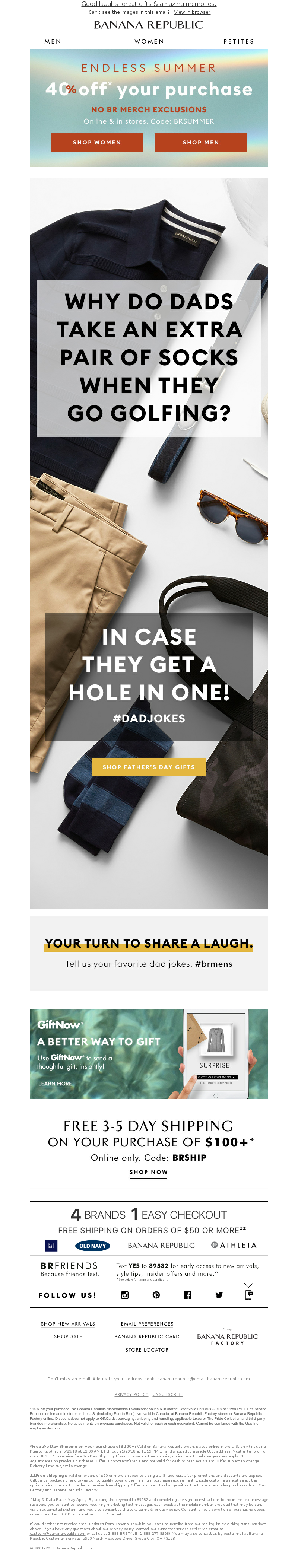 father's day email example from Banana Republic