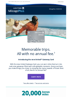 United Airlines - NEW: Enjoy no annual fee with the United Gateway Card