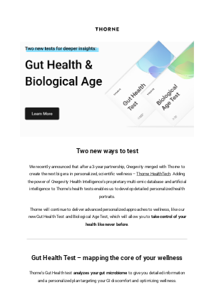 Thorne - New Health Tests: Uncover your Biological Age