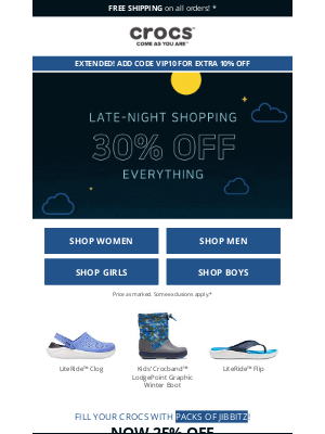 Crocs - 😍 Hurray! 30% off Sitewide has been extended + EXTRA 10% OFF!
