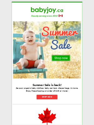 Summer Sale starts now! Find huge savings on organic baby clothes, baby carriers, diaper bags, & more!