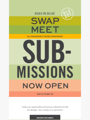 Swap Meet submissions now open!