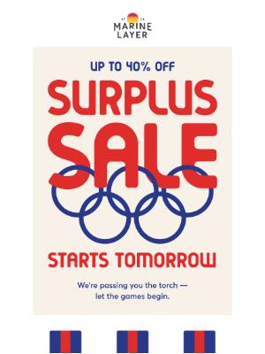 Marine Layer - Our Surplus Sale starts tomorrow.