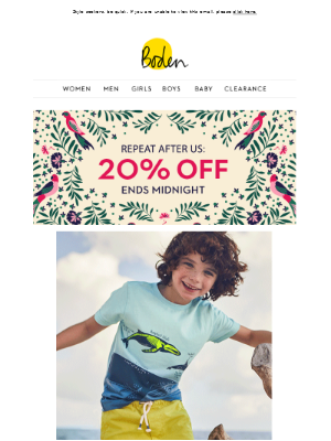 20% OFF takes flight at midnight