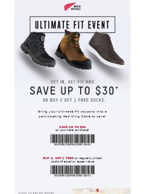 Red Wing Shoes - Redeem your savings now at the Ultimate Fit Event